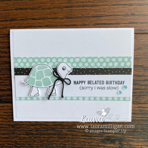 Turtle Friends Simple Card Birthday Hand stamped card by Laura Milligan