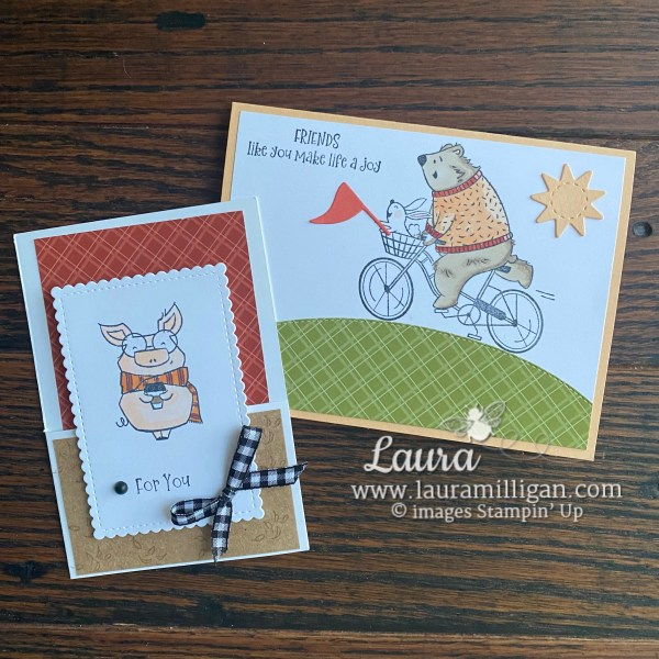 Joyful Life Stamp Set by Stampin' Up! Card Duo by Laura Milligan Earn Free Bees
