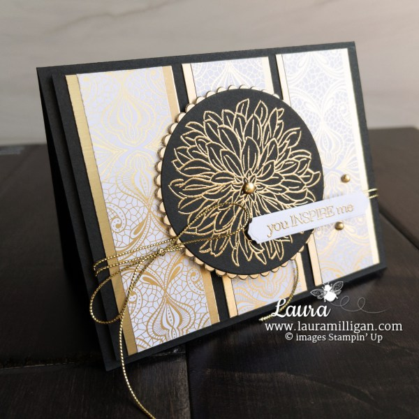 Create this card using the Dahlia Stamp Set from Stampin' Up! Card by Laura Milligan Earn Free Bees Shop Online
