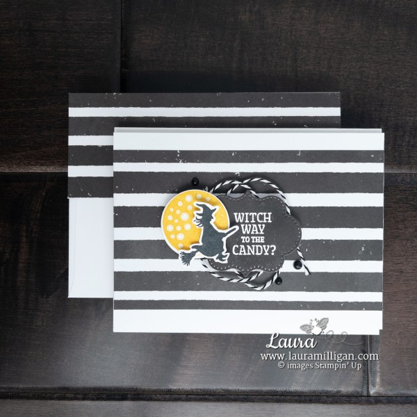 Frightfully Cute Bundle from Stampin' Up! Witch Card by Laura Milligan Id Rather Bee Stampin