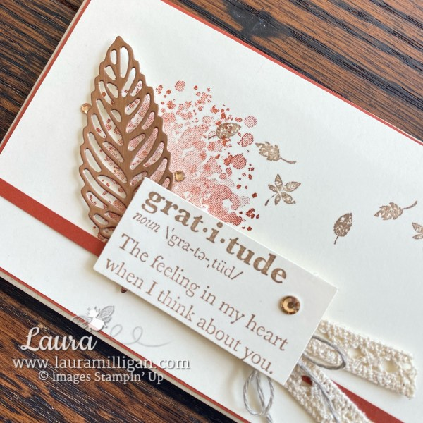 Gorgeous Leaves Bundle by Stampin' Up! Card by Laura Milligan Slimline for FMS 504 Free Bees
