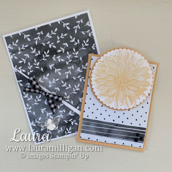 create a pocket card with Delicate Dahlias and Beautifully Penned Designer Series Paper by Laura Milligan, demonstrator