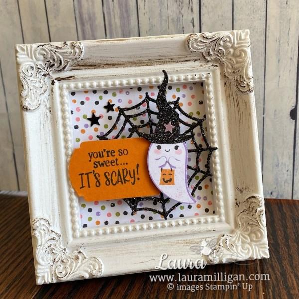 create this Halloween Mini Framed Art by Laura Milligan Demonstrator Cute Halloween Frightfully Fun Stampin' Up!
