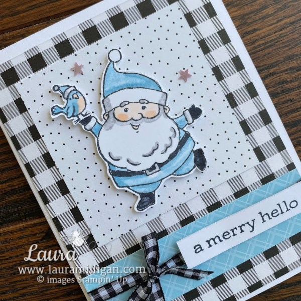 Be Jolly Hand Stamped Card by Laura Milligan Stampin' Up! Demonstrator Earn Free Product