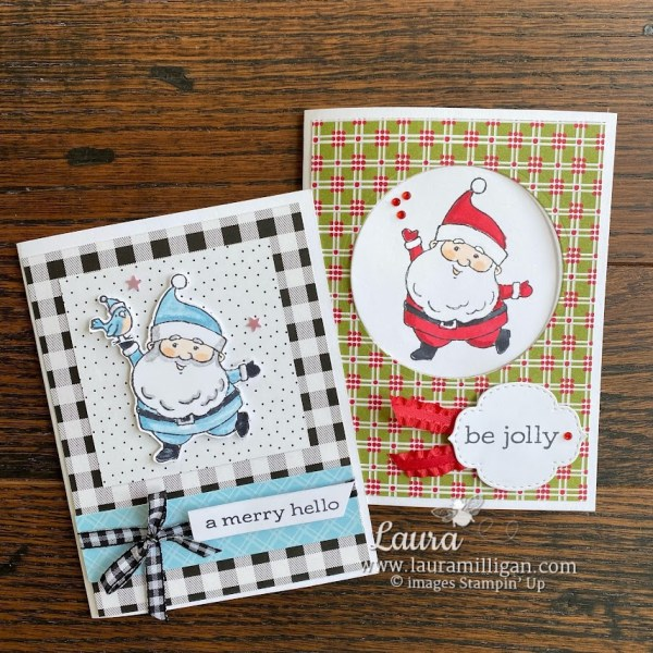 Be Jolly Handmade Card by Laura Milligan, demonstrator Stampin' Up! earn free products