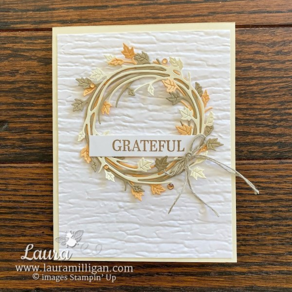 create this beautiful gratitude card with Sparkle of the Season Bundle Laura Milligan Demonstrator, Stampin' Up!