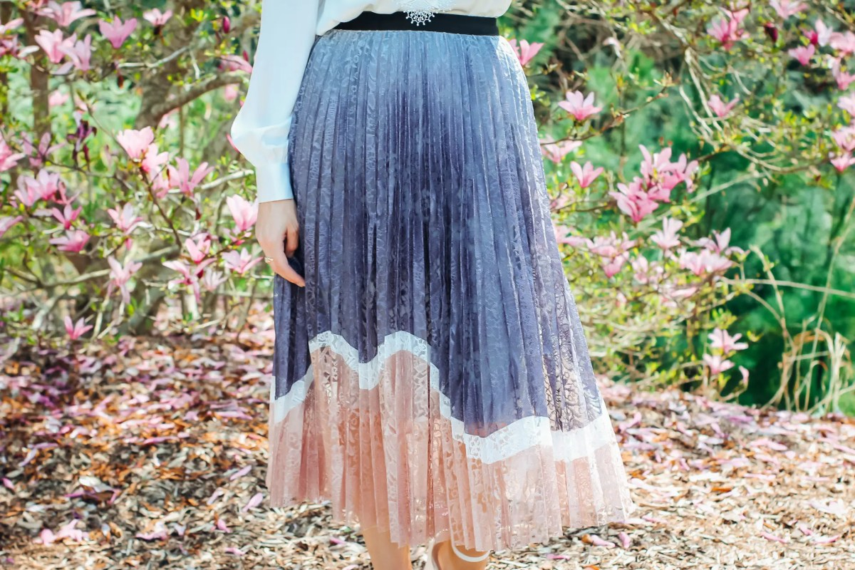 Pastel Lace Midi Skirt Styled For Spring Close Up Lavendar and Pink