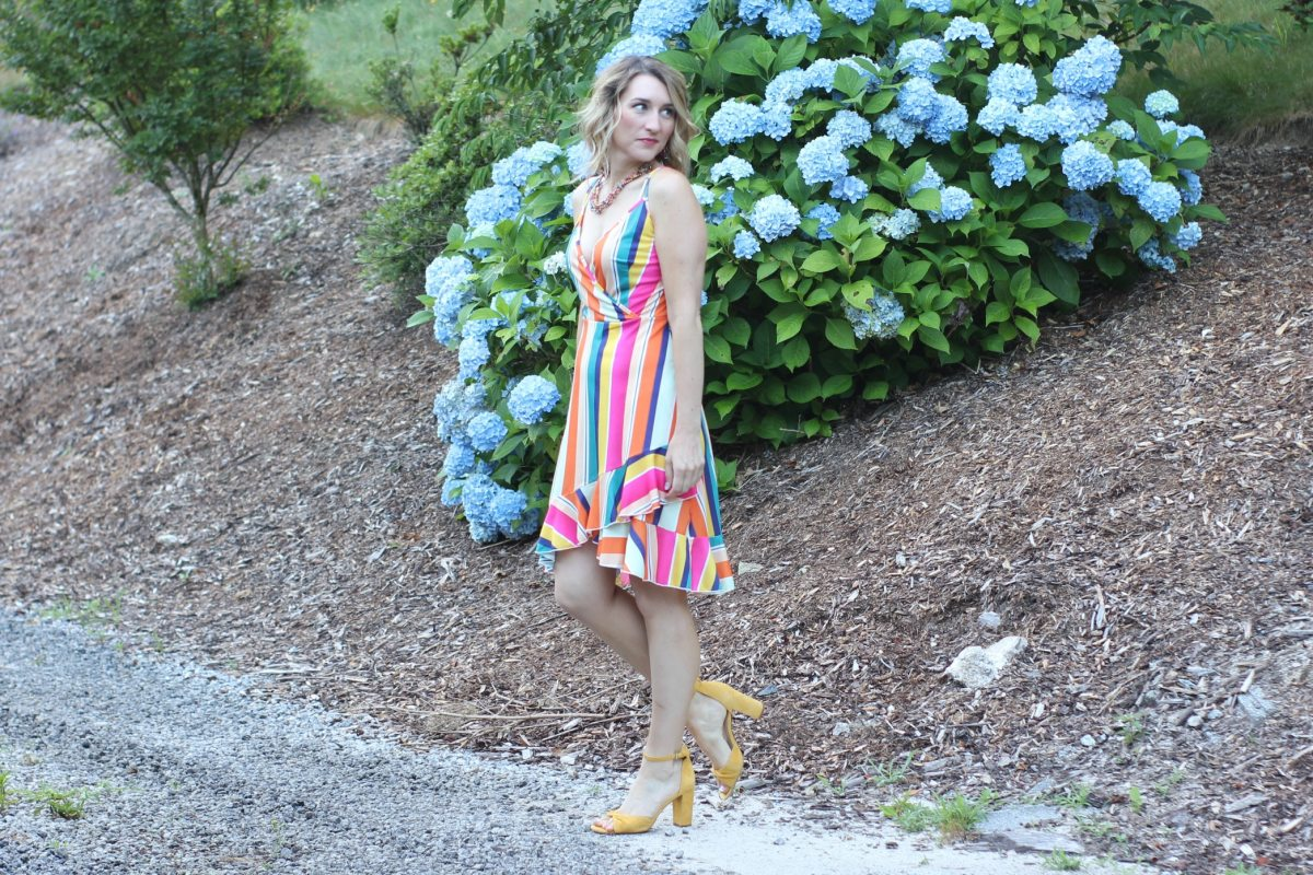 Amazon Fashion Find-Rainbow Stripe Dress-Laura Mintz-Asheville, NC