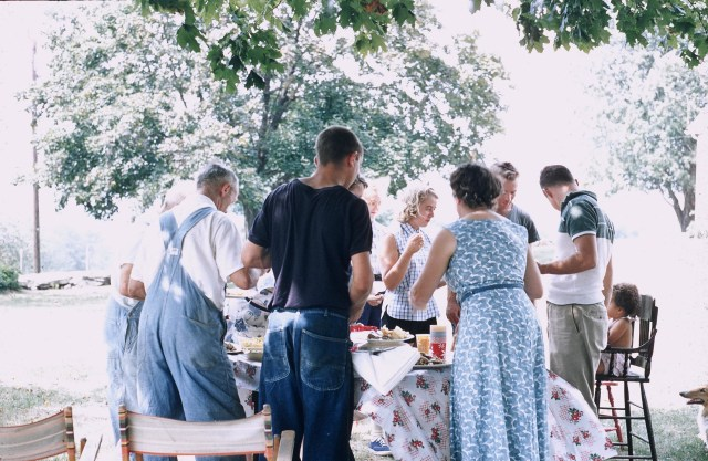 My grandmother, father, uncles, aunts, and great grandfather gathered at the farm.