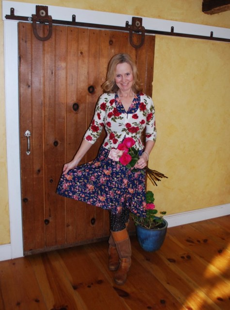 The author wearing a Jenny, by Karina Dresses, which she has styled for Valentines Day. Share the love.
