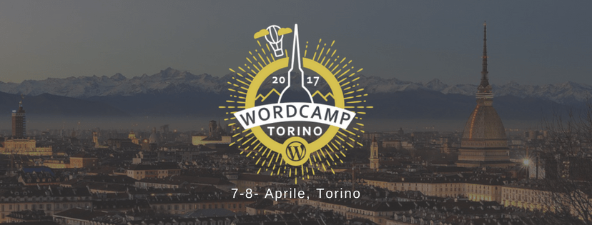 Panorama di Torino con logo del Turin WordPress wordcamp