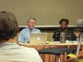 Terry Farrell and Jonda McNair at a poetry session. Passionate poetry advocates!