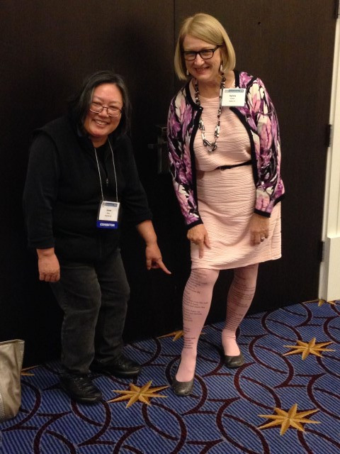 Janet Wong and Sylvia Vardell (check out those poetry tights!)