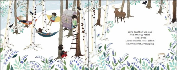 Interior spread from Breathe and Be, by Kate Coombs. Art by Anna Emilia Laitinen. Used with permission.