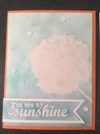 Embossed Dandelion Stamp Ink Resist Card