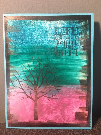 Uplifting Card; Tree Silhouette on Aqua Ombre Background