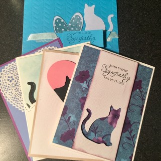 Cat sympathy card stack