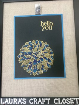 gold embossed stamped dahlia hello card colored with prismacolor pencils