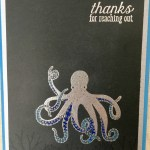 silver embossed stamped sea of textures octopus thanks card colored with prismacolor pencils