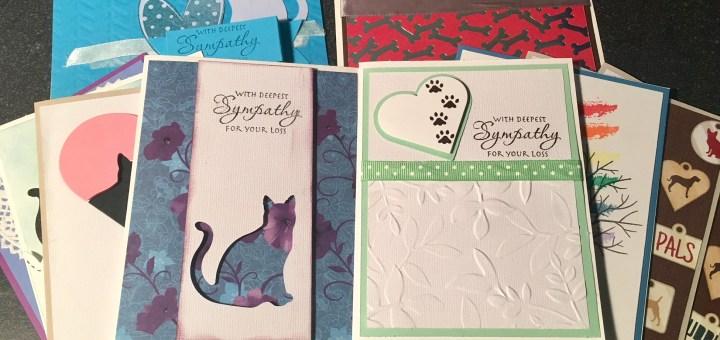 Pet sympathy card stack