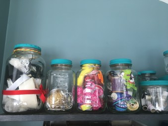 keep ribbon scraps in jars