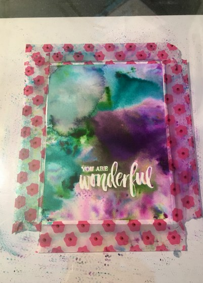 washi tape for outline on thank you card made using cool colors watercolor powders