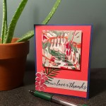 tropical nail polish marbled paper for thank you card