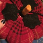 top of DIY plaid plush pumpkin