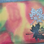 die cut leaves from alcohol inked paper