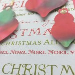 close-up christmas card with alcohol ink ornaments