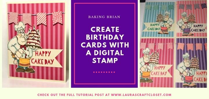 birthday card baking brian digital stamp