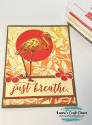 Flamingo breathe card sunset inked embossing folder background