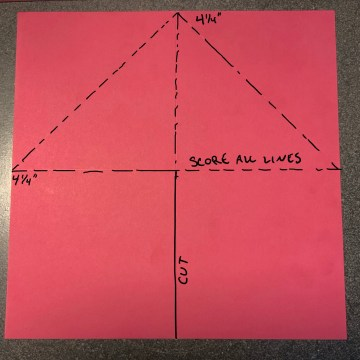 Cut and score lines for tent fold pop up card template