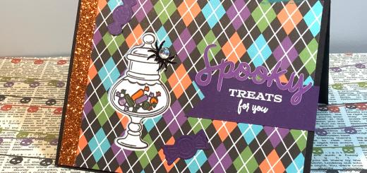 Halloween candy jar window card