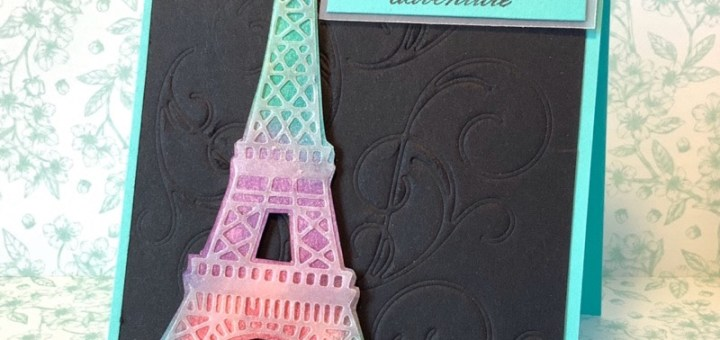 Embossed background with dies Eiffel Tower