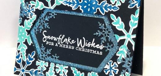 Blue Snowflake Glitter Window card on black background
