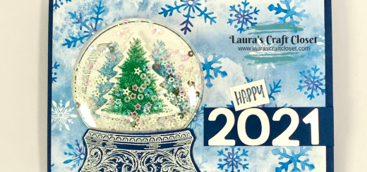 New Years 2021 snowglobe card shaker snowflakes