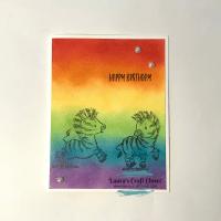 Blended Rainbow Zebra Card