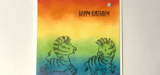 Ink Blended rainbow zebra birthday card