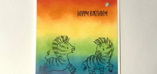 Ink Blended rainbow zebra birthday card
