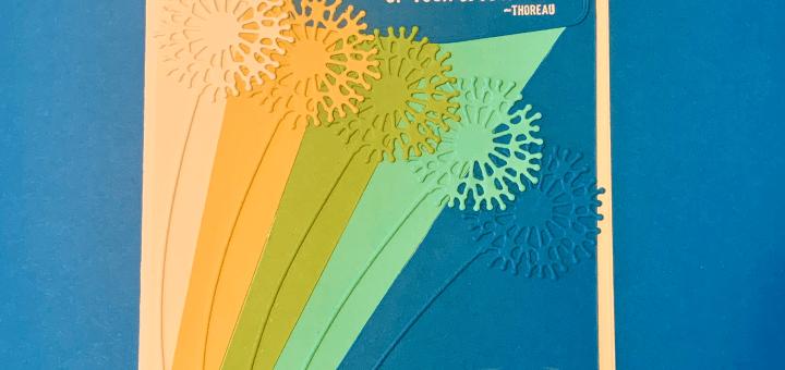 Dandelion Diecut Sunburst Card with rainbow of stripes and Thoreau quote