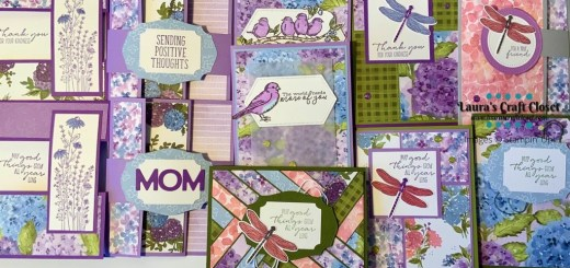 Hydrangea hill DSP card stack created with the Stampin' Up designer series papers