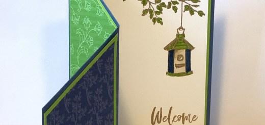 Garden birdhouses fun fold open with peekaboo welcome scene