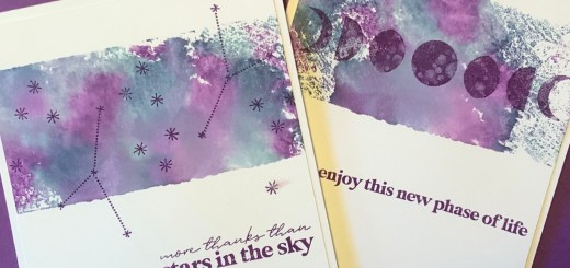 Faux watercolor galaxy cards to the moon stamps
