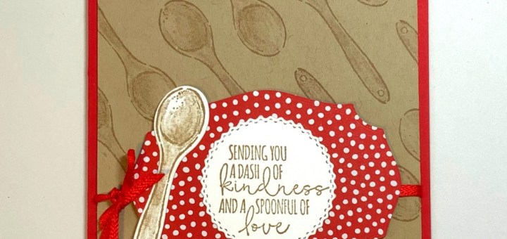 Repeated spoon background card what's Cookin' stamp spoonful of love