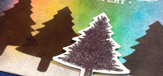Northern lights technique christmas card perfectly plaid pine trees
