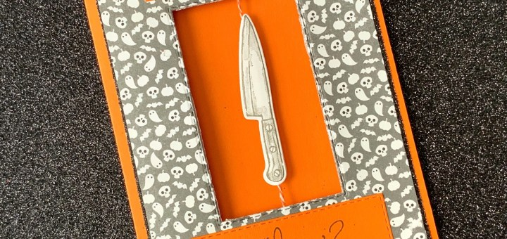 Knife spinner card stampin up fun halloween cards interactive scary