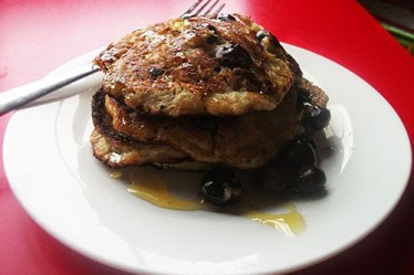 Gluten free Banana & Blueberry Pancakes