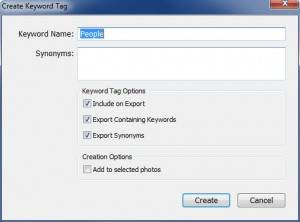 New Keyword in Lightroom Using Keyword List Panel