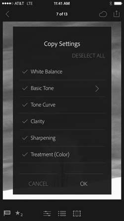 Lightroom mobile copy adjustment settings